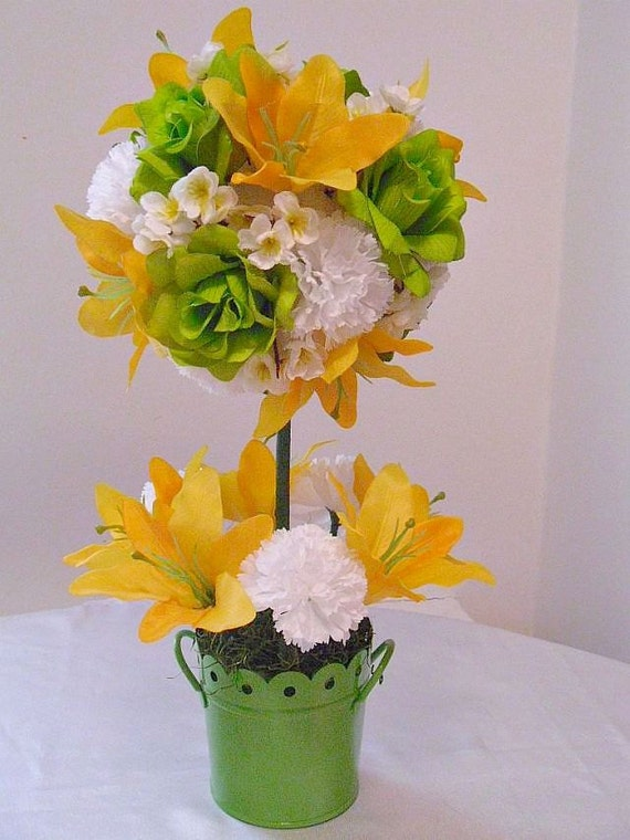 Topiary silk flower arrangement artificial centerpiece