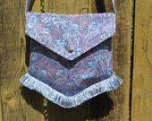 Clearance Sale- Crossbody Victorian Bag in Blue Paisley with Crystals & Fringe