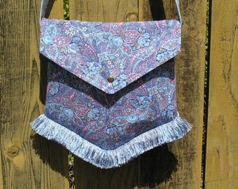 Crossbody Victorian Bag in Blue Paisley with Crystals & Fringe