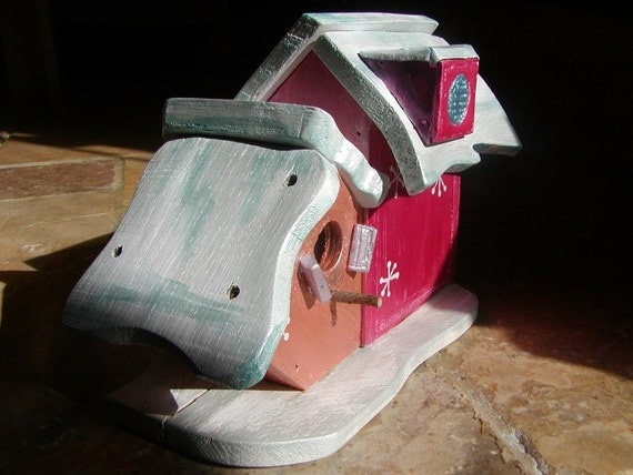 Birdhouse Condo Cottage Two in One Birdhouse Art, OOAK of Reclaimed Wood