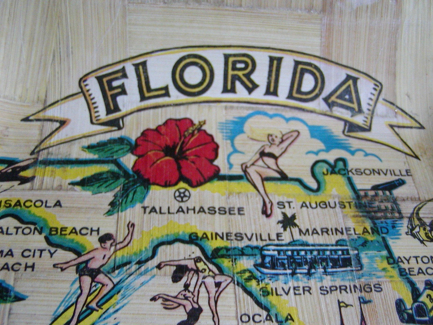 Retro Florida Souvenir Bamboo Bowl of Florida Map by HisPalette – Florida Tourist Attractions Map