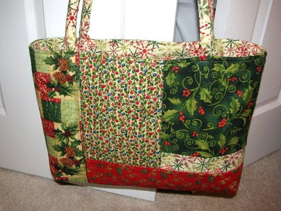 Christmas tote, market bag, grocery tote, library bag, hostess gift, holiday, large tote, gift