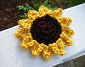 Crocheted Sunflower Hair Clip