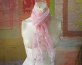 MOTHERS DAY )(Vintage Pink & White Netted Scarf )( Felted Geometric Design )( 1950s Prom )( Veil