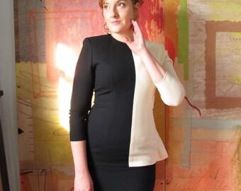 Vintage Color Block Suit Dress )( 80s Two-Tone )( Black & White )( Medium/ Size 6