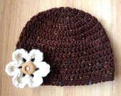 Crochet CLASSIC UNISEX chocolate/multi-color fleck beanie hat - customer FAVORITE - baby, toddler, child, teen & adult