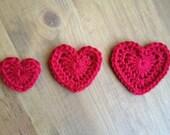 Crochet HEART applique / hairclip accessory / scrapbook embellishment - set of 1 ea. small, medium, large