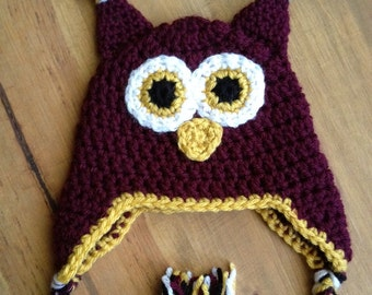 Crochet OWL beanie hat photo prop - 0-3mo size ready to ship - baby, toddler, child, teen & adult
