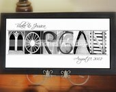 Personalized Name Frame 10x20 Black and White or Sepia Alphabet Photo Letters FRAMED  by Memories in a Snap