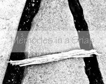 Letter A - Alphabet Photography Individual 4x6 Black and White Photo for Name Frames