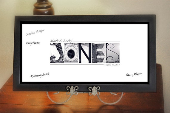Wedding GUEST BOOK- Alphabet Photography Personalized  - Name Frame Print FRAMED by Memories in a Snap