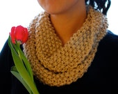 Hand Knit Infinity Scarf (Sand)