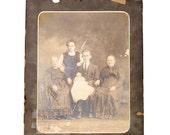 LAST CHANCE Old Large Oddish Family Photograph Shabby Chic 20 x 16