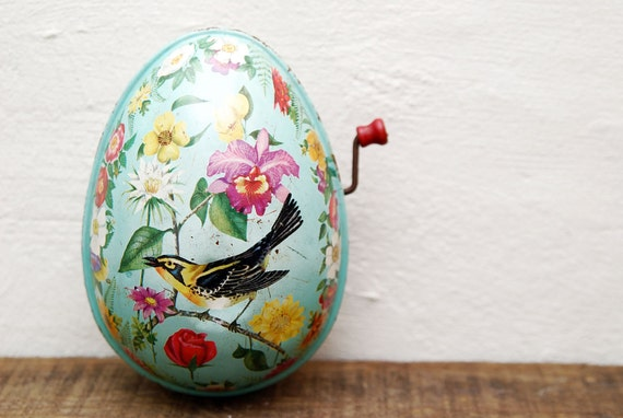 1954 Mattel Tin Toy Musical Egg with Bird