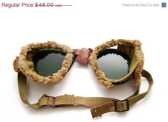 MARCH MADNESS SALE Tinted Aviator Goggles Wwi with Fur Lining by Fg Co.