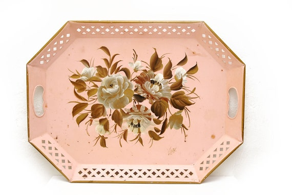 1950s Handpainted Pink Serving Tray, Toleware Nashco Products NY