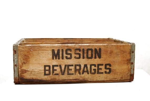 Rare Mission Beverages Soda Crate with Inserts, by Treen Box Co, 1957