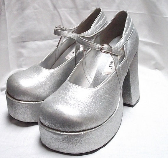 Silver Glitter Raver Club Kid Platform Mary Janes circa rave like its your birthday 1995
