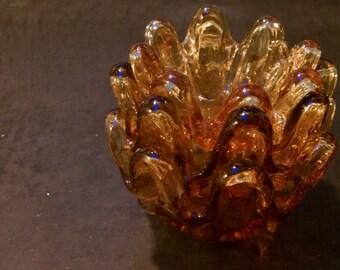 Vintage 60s Italian Set of 3 Nesting Amber Ruffled Glass Ashtray Dishes