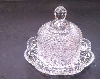 Vintage Avon Fostoria Pressed Crystal Butter Dish