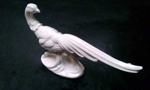 Elegant White Ceramic Pheasant