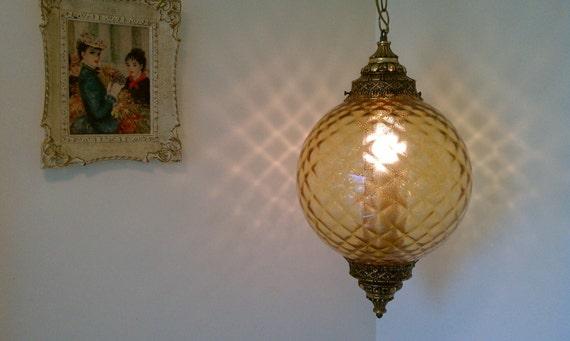 Hanging Swag Amber Globe Light