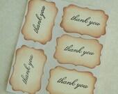 Scroll Edge Hand Stamped Thank You Vintage/Antique look Envelope Seals set of 5