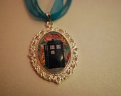 Doctor Who inspired TARDIS cabochon necklace