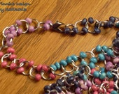Colorful Beaded Chainmaille Necklace Made with Silverplated Jump Rings and Colorful Wooden Beads - Wearable as a Bracelet also
