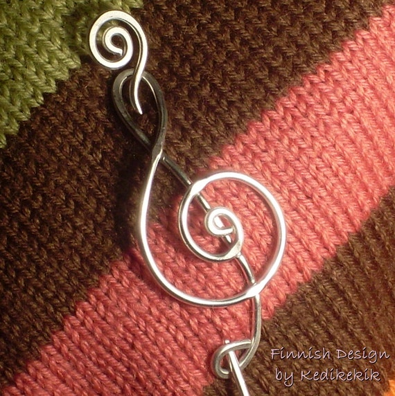 Sturdy Big TREBLE CLEF Brooch, Hair Pin or Shawl Pin For Scarf made with Aluminum Wire - For Musicians and Music Lovers