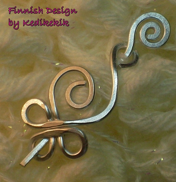 Adorable Little CELTIC SWAN Brooch, Hair Pin or Shawl Pin For Scarf made with Aluminum Wire - Very Light to Wear