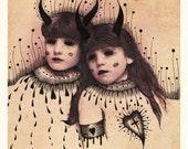 THE DREAMERS (ink on photo print) original artwork