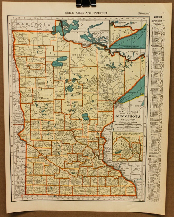 Vintage Map Minnesota Original 1935 By PastOnPaper On Etsy