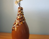 Now part of set - Teardrop-shaped brown ceramic vase with asymmetrical brown, gold and white rhinestone cascade
