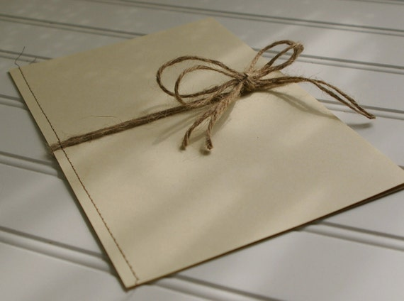 Jute Twine Tied Wedding. Kraft Paper. Rustic Wedding. Wedding Ceremony Program. Shabby Chic Wedding.