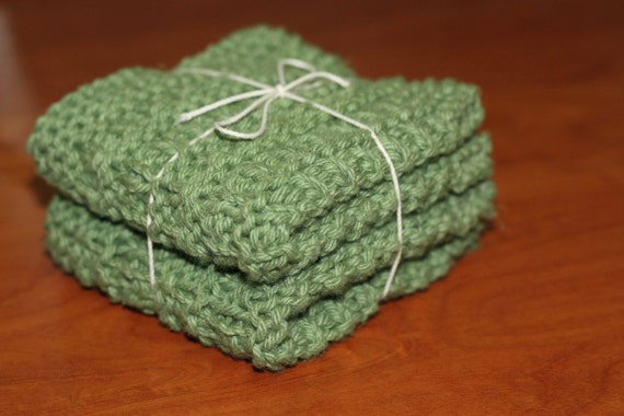 Set of 2 Knitted Dishclothes- Sage Green (100% Pure USA Grown Cotton)