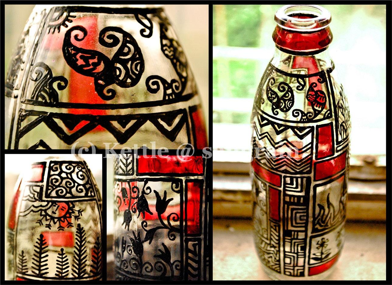 painted glass bottle candle holder. Black Bedroom Furniture Sets. Home Design Ideas