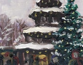 Snowy Christmas Market Munich - original oil painting 7x5in