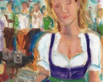 Oktoberfest dirndl study 14 - original oil painting 9.5 x 7 in