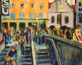 Original oil painting - Munich Marienplatz S/U - 12 x 12 inches