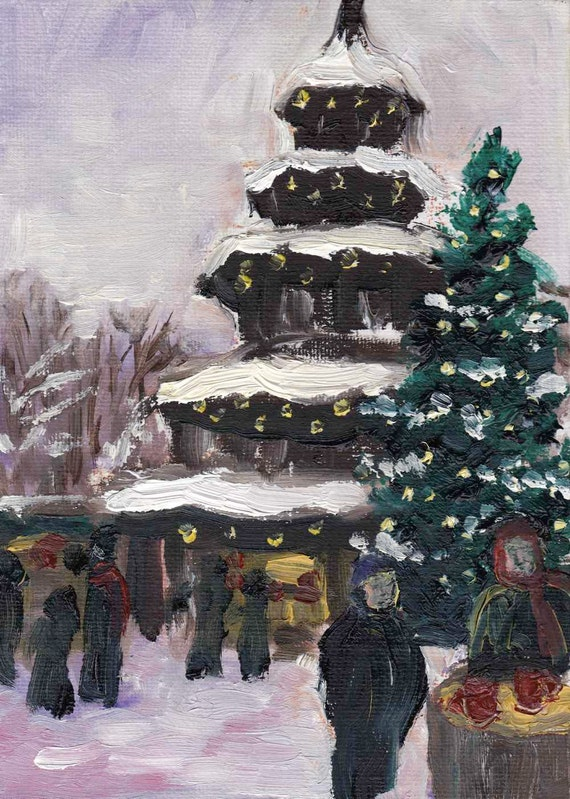 Snowy Christmas Market Munich - original oil painting 7x5in