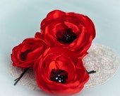CARMEN - Red Poppy Flower Hair Clips (3 pcs) - Bright Red Silk Satin Hair Flowers - Garden Princess - Red - Black - Poppies - Israel
