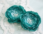 Turquoise Green Lollipop Flower Hair Pins with Pearls (2pcs) - Spring Flower Hair Pins - Lollipop Flowers - Teal Blue - Aqua - Israel