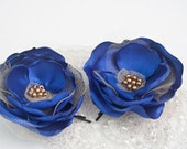 SALE - Twilight Charm - Blue and Gold Silk Satin Flower Hair Bobby Pins (2 pcs) - Electric Blue - Royal Blue - Israel