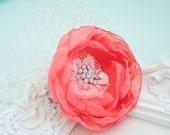 Coral Flower Hair Clip - Chiffon Flower - Flower Hair Clip - Bridesmaids Flower - Summer Flowers - Hair Accessory
