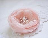 Small Peach Flower Hair Clip, Chiffon Hair Flower, Hair Flower with Pearls, Bridesmaids, Wedding, Flower Girl, Prom