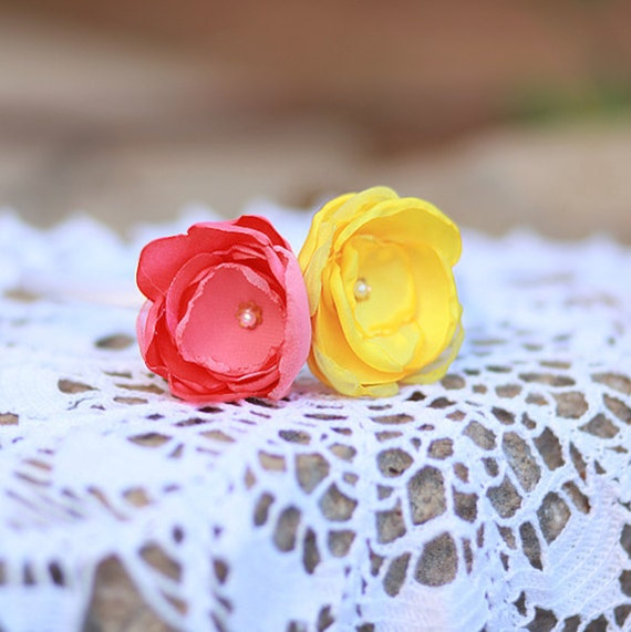 Coral and Yellow Satin Silk Flower Headband - Handmade Floral Hair Accessory - Autumn Colors