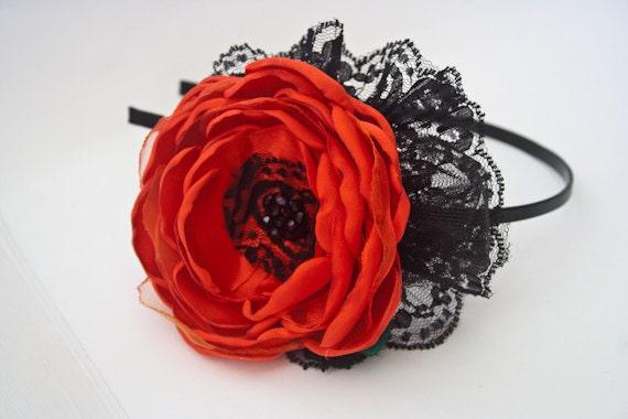 SALE - Red Rose Silk Satin Flower Headband - Red and Black - Lace - Elegant - Girl Headband - Adult Headband - PHOTOGRAPHY prop - Israel