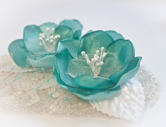 Mint Green Cherry Blossom Hair Clips (set of 2) - Bridal Hair Clips - Flower Girl Hair Clips - Hair Accessory