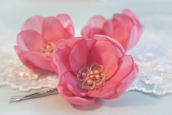 Dusty Pink Satin Cherry Blossom Hair Pins (set of 3) - Spring Hair Flowers - Sakura Silk Blossoms - Flower Girl Hair Pins - Israel